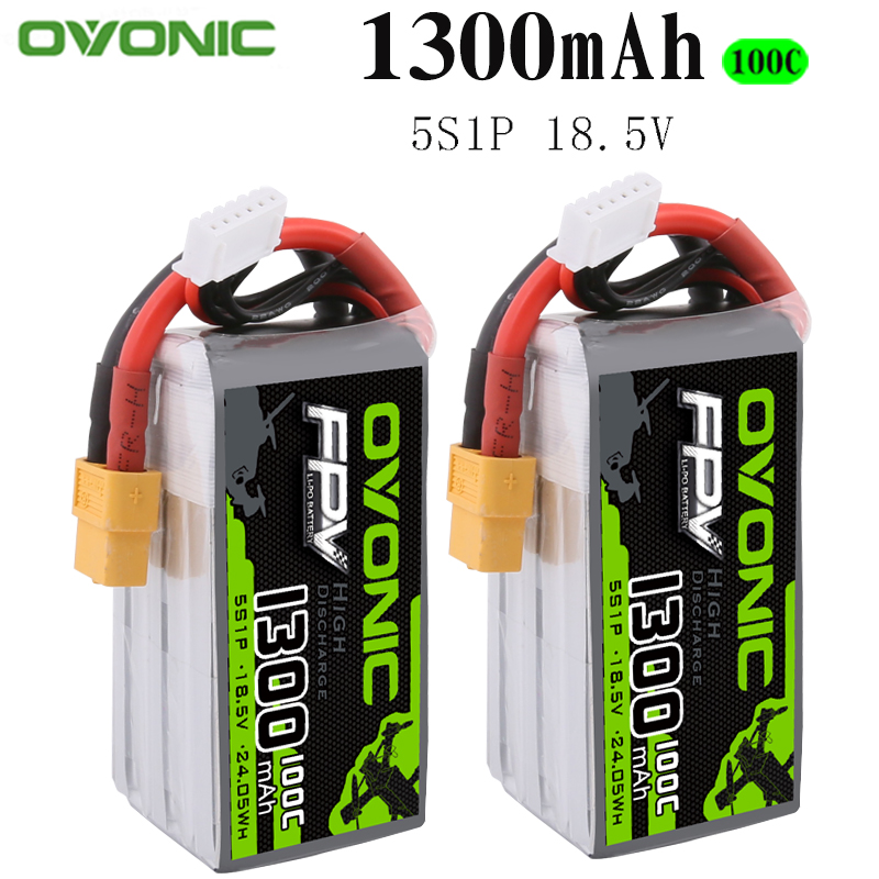 2PCS Ovonic 18.5V 1300mAh 100C 5S1P LiPo Battery Pack with XT60Plug for Tiny Quad RC Airplane Small Helicopter DIY Parts image