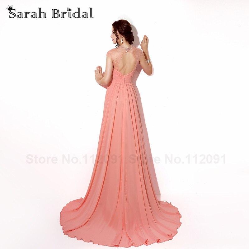 Coral gasa plisada Vestidos de baile detrás cortados sexy Sheer ...
