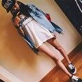 Rugod New fashion Star models Frayed cowboy coat loose female coat Plus Size Long Sleeve O-Neck Short Jeans Jacket Woman