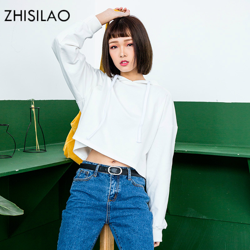 ZHISILAO Crop Top Woman Sweatershirt Woman Hoodies Harajuku White Hoodie Pullovers Hoodies Kawaii Hoody Kpop Sweatershirt Chic