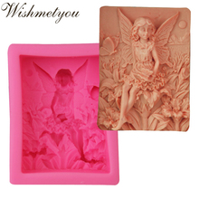 WISHMETYOU Angel Shape Silicone Soap Mold Fondant 3D Cake Decorating Tools Moulds Chocolate Girls Handmade Diy Supplies Making