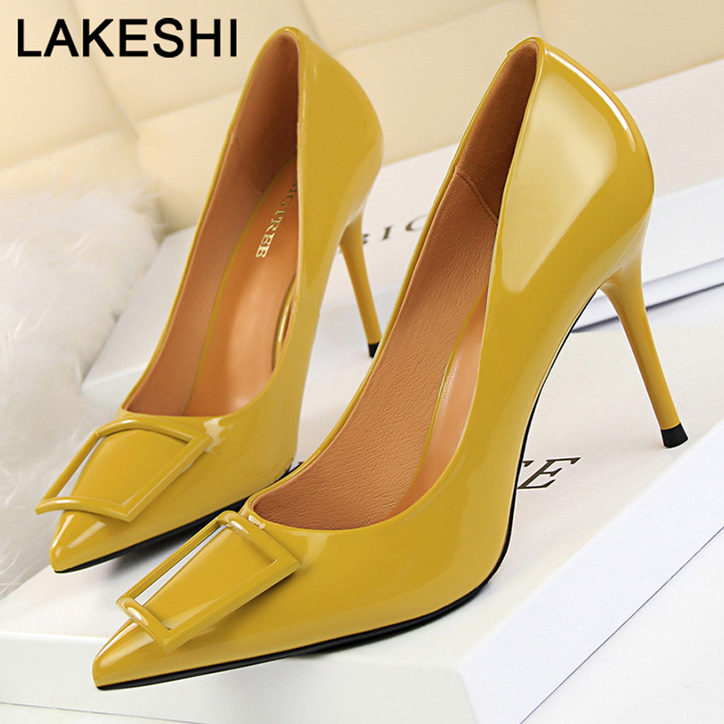 Women Pumps 2019 New Kitten Heels Spring High Heels Women Shoes Patent Leather Ladies Shoes Sexy Wedding Shoes Women Stiletto