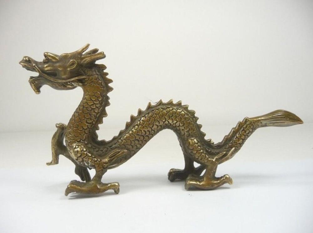 Oriental Chino trabajo a mano antiguo cobre tallado dragón estatua ...