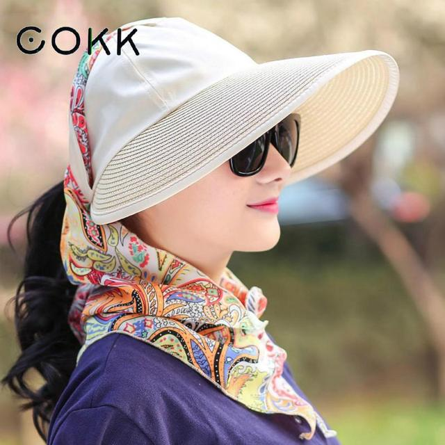66ce14d27 US $8.2 38% OFF|COKK Sun Hat Summer Hats For Women Foldable Uv Protection  Anti uv Wide Brim Foldable Women Hat Summer Shawls Chapeau Femme Visor-in  ...