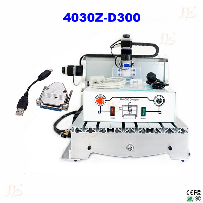 CNC 4030Z-D300 engraving machine, CNC router, milling machine for cutting wood, acrylics,MDF with USB parallel adapter eur free tax cnc 6040z frame of engraving and milling machine for diy cnc router