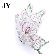 JY New Arrival 2017 Butterfly Shape Colorful Brooches Silver Color Jewelry White Zircon for Wedding Party Gift