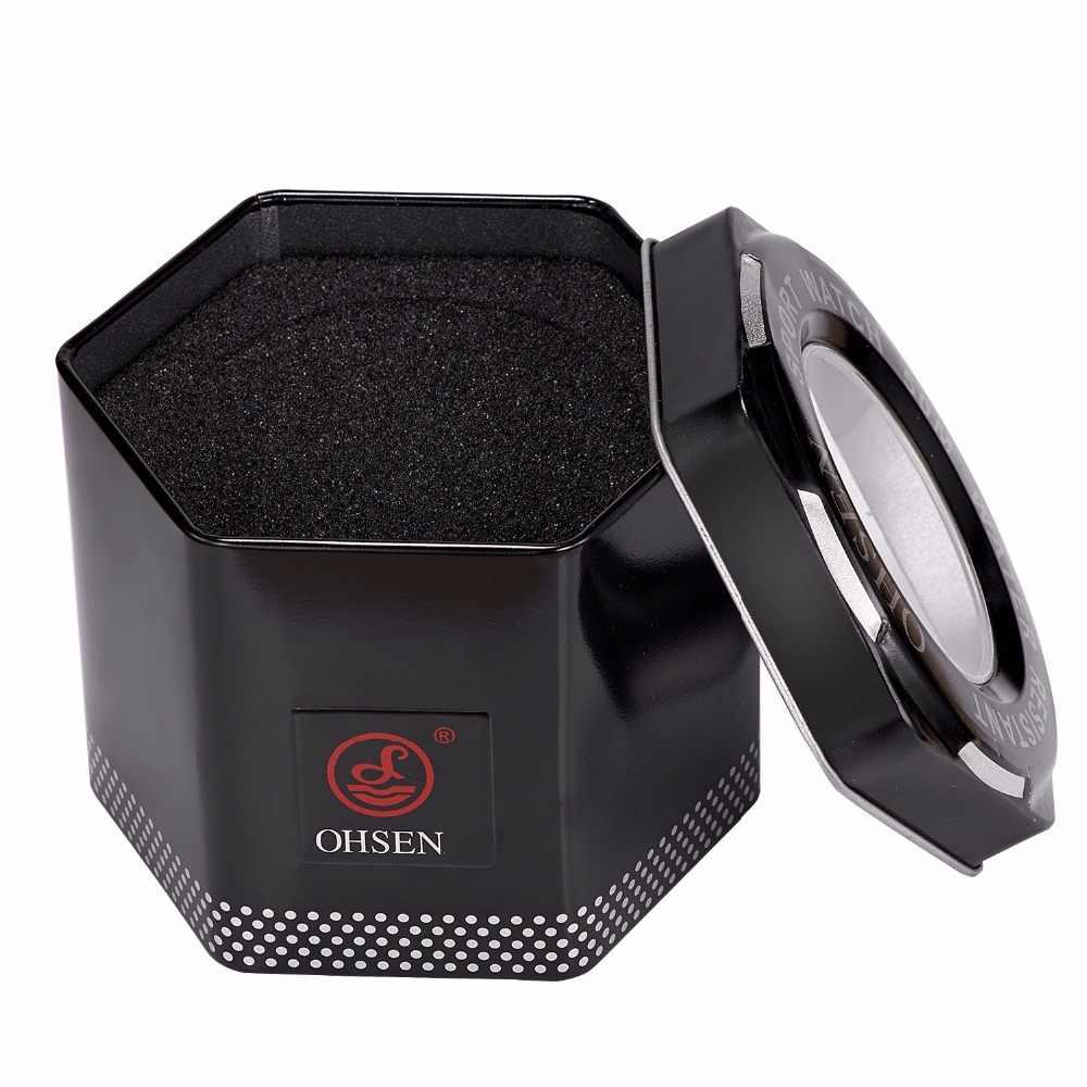 1 sztuk moda 100% oryginalny zegarek OHSEN pudełka dobrej jakości chronić zegarek metalowe pudełko na prezent z OHSEN LOGO Dropshipping