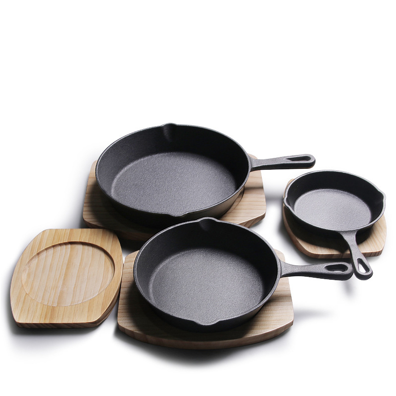 Mini Non-stick PAN With Wooden Tray Multi-functional Cast Iron Cookware For Frying Cooking Grilling For Toast Breads Stews Fish