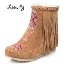 Lsewilly/зимние женские замшевые-кожи на плоской подошве Ботильоны на каблуке Удобная обувь Женские ботильоны сапоги Sapatos femininos кисточкой AA560