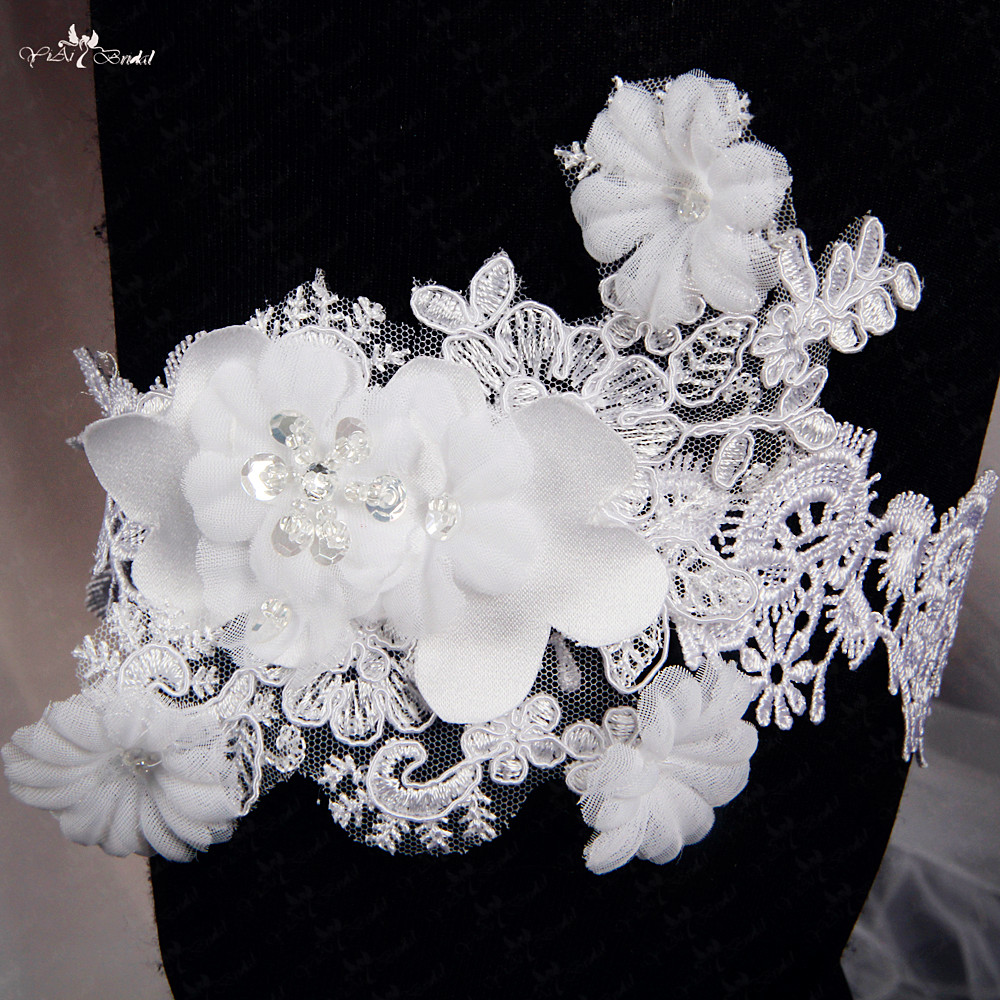 White Wedding Garter: RSB28 White Lace Wedding Garter Bridal Garter Handmade