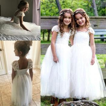Ivory Lace Cap Sleeve Flower Girls Dresses 2019 Square Tutu Puffy princess First Communion 1st Birthday Outfit Holly Girls Dress