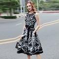 High Quality Women's Summer New Sleeveless Vest Belted Vintage Black White Geomtric Print Dress vestido