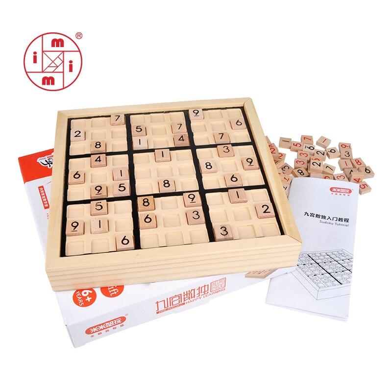 MITOYS Sudoku échecs chiffres 1 à 9 ne peut mettre une fois dans n'importe quelle ligne de rangée et vérifier Intelligent fantaisie éducatifs bois jouets jeu cadeaux