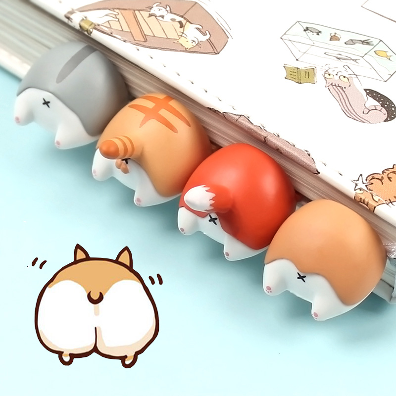 Creative Dog Cat Hamster Fox Ass Bookmark Cartoon Animal Book Marks Clip For Kids Girls Stationery Gift Office School Supplies