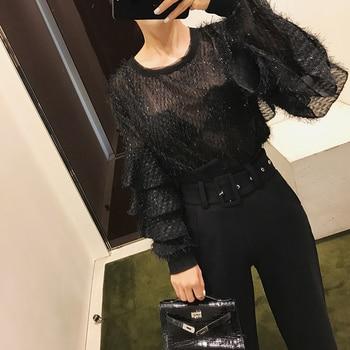 Женская рубашка Tumblr, Однотонная рубашка из полиэстера с длинными рукавами бабочками и круглым вырезом, 2018