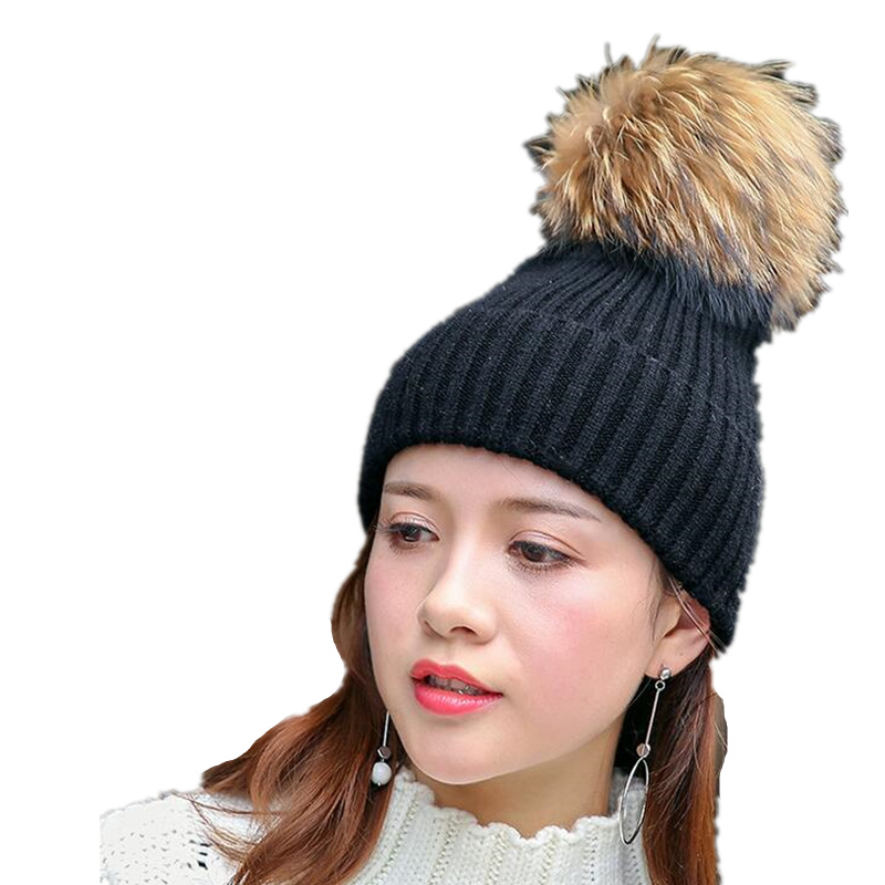 Mink and fox fur ball cap pom poms winter hat for women girl 's hat knitted beanies cap brand new thick female cap girl Warm hat 2016 new beanies women hat winter outdoor warm caps mink and fox fur ball cap pom poms ear protection hats for girl colorful
