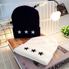 2018 Winter Hats for Woman Embroidery pentagram HipHop Knitted Hat Women's Warm Slouchy Cap Crochet Ski Beanie Hat Female Soft