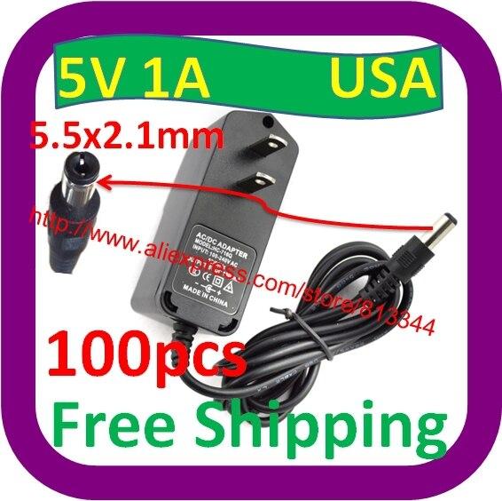 100 Stks Gratis Verzending Ac 110-240 V Converter Adapter Dc 5 V 1000ma 1a Oplader Netsnoer Ons