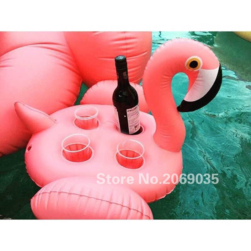 70*60 Cm 4 Lubang Inflatable Flamingo Merah Muda Cangkir Pemegang Pool Float Tatakan Gelas Cola Minuman untuk Orang Dewasa Anak Pantai air Mainan Kolam