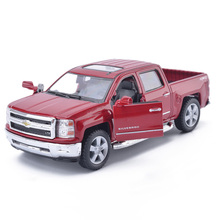 High Simulation KiNSMART 1:46 Chevrolet SILVERADO Pickup Truck Alloy Car Model Metal Diecast With Pull Back For Kids Toys