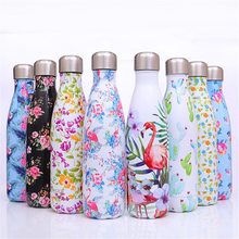 Flamingo Water Bottle BPA Free Thermos Floral Double Wall Stainless Steel Vacuum Insulated Cup Hiking Bicycle Drink