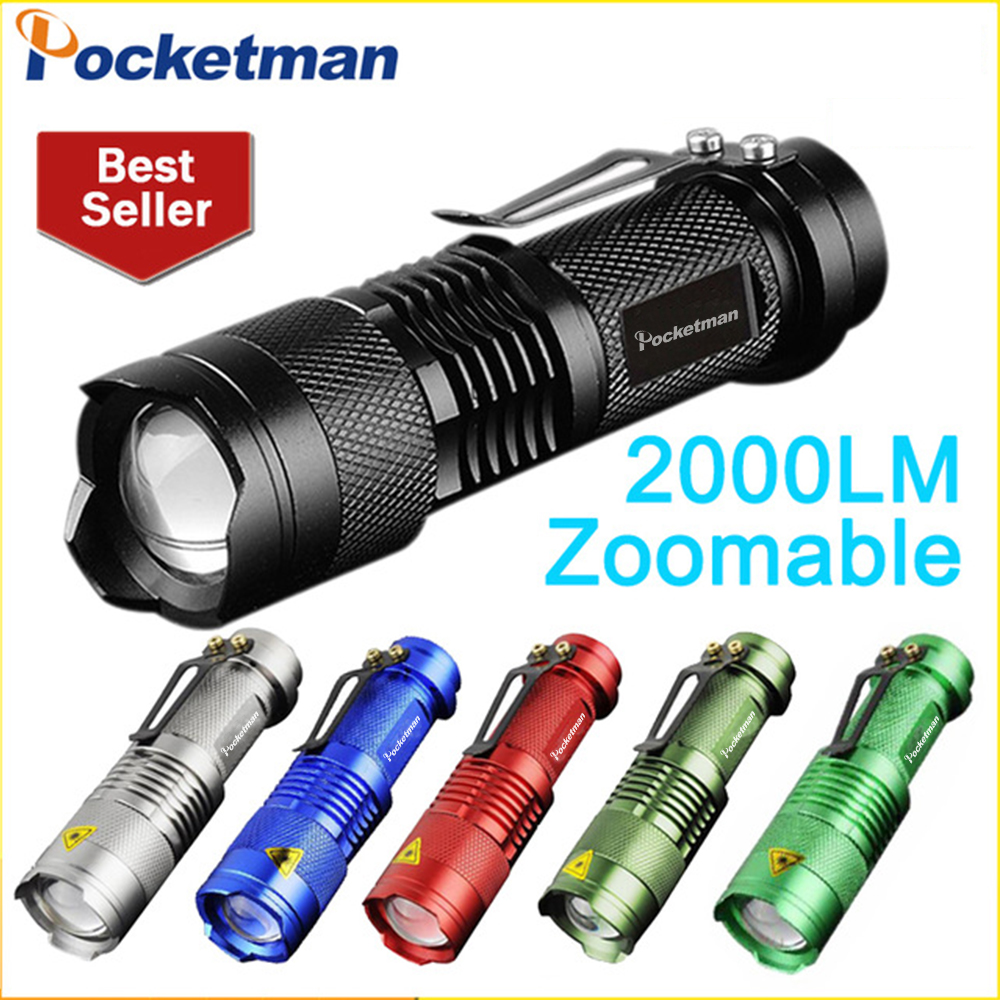 Mini LED Flashlight 2000LM Zoomable Waterproof Powerful Flashlight Tactical Flashlight 3 Modes Torch Linternas for Camping