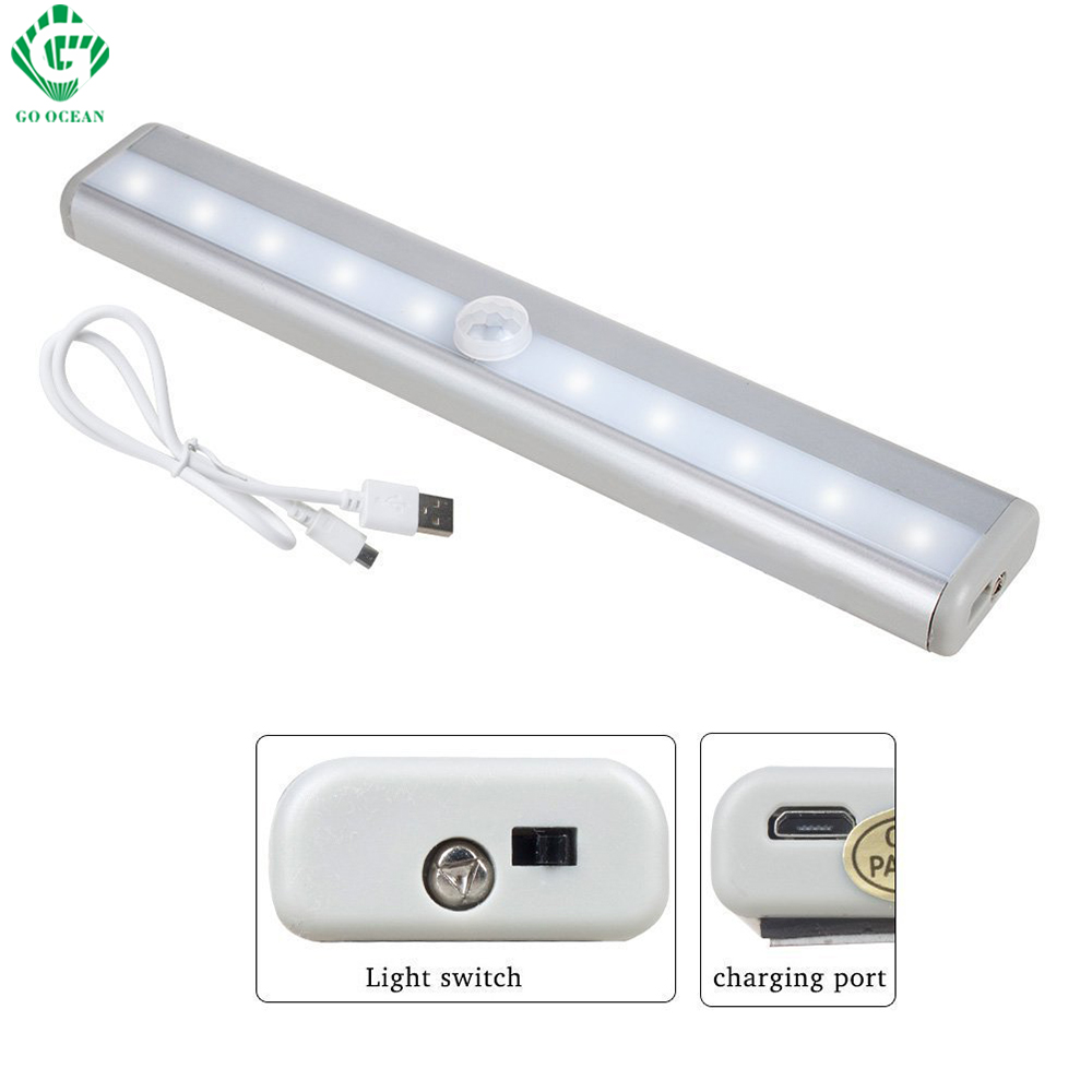 LED Cabinet Lights Motion Sensor IR Infrared Rigid Strip Bar Wall Stair Closet Light USB Rechargeable Wardrobe Cupboard Lamp
