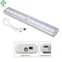 Luces de la noche del LED infrarrojo del Sensor de movimiento IR tira rígida Bar luz del Gabinete de pared armario luz USB recargable lámpara armario