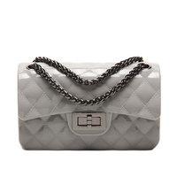 Fashion Girl Candy Color Shoulder Bag Lovely PVC Jelly Chain Bag Rhombus Design Women Crossbody Messenger