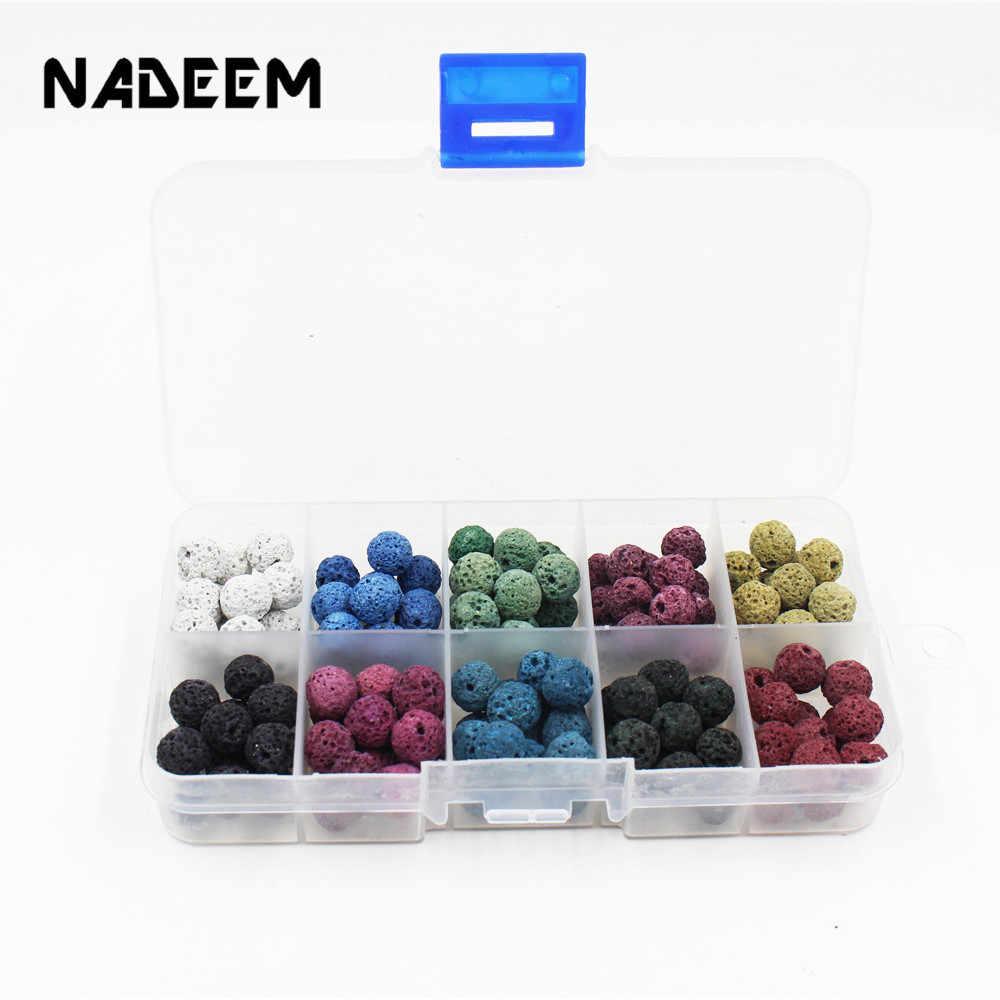 Nadem натуральный камень набор из бижутерии набор для браслета ожерелье ювелирных изделий, 8 цветов 150 шт Бусины из вулканического камня энергетический каменный ящик