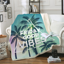 Sofa cushion Yoga mat Blanket air conditioner blanket thick double-layer plush 3D digital printed coconut tree series