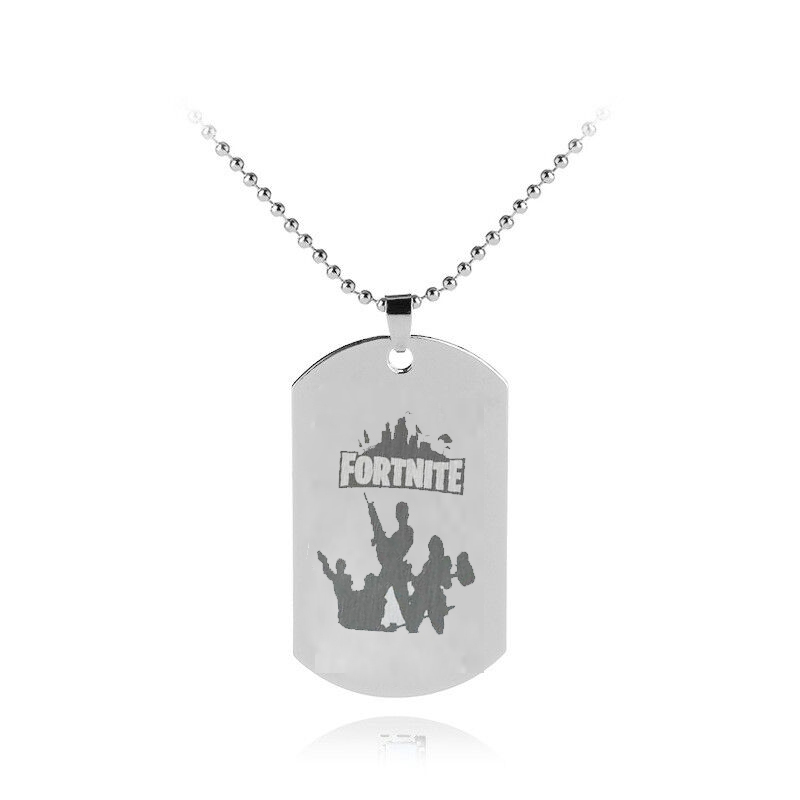 NEW FPS Game Fortnite Battle Royale Keychains necklace Stainless Steel keyring Laser Printing Personalized Jewelry Do not fade