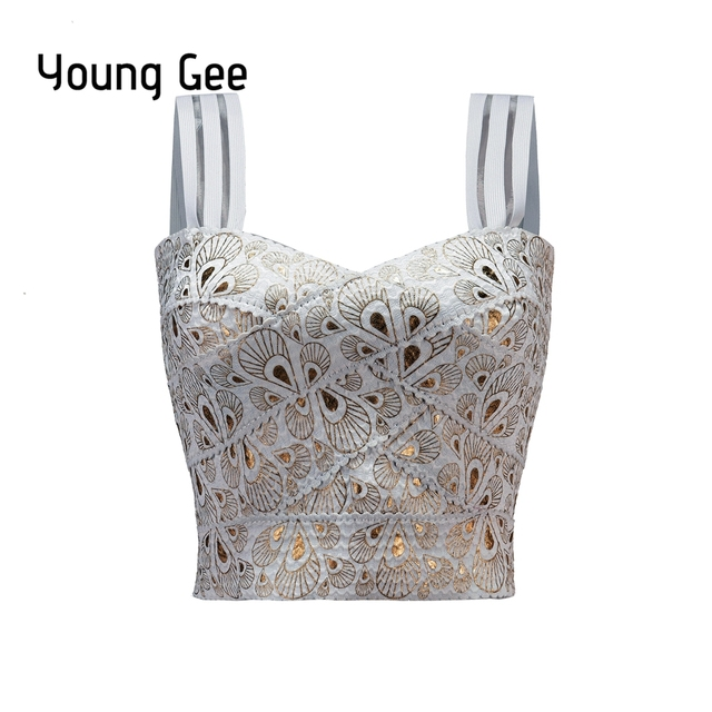 Young Gee Women's Elastic Bandage Short Cropped Tops Spaghetti Strap Sexy Busty Gold Feather Printed Fitness Crop Streetwear