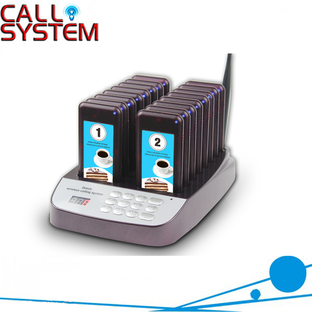 999 Channel Restaurant Pager Wireless Paging Queuing System 16 Call Coaster Pagers Restaurant Equipments
