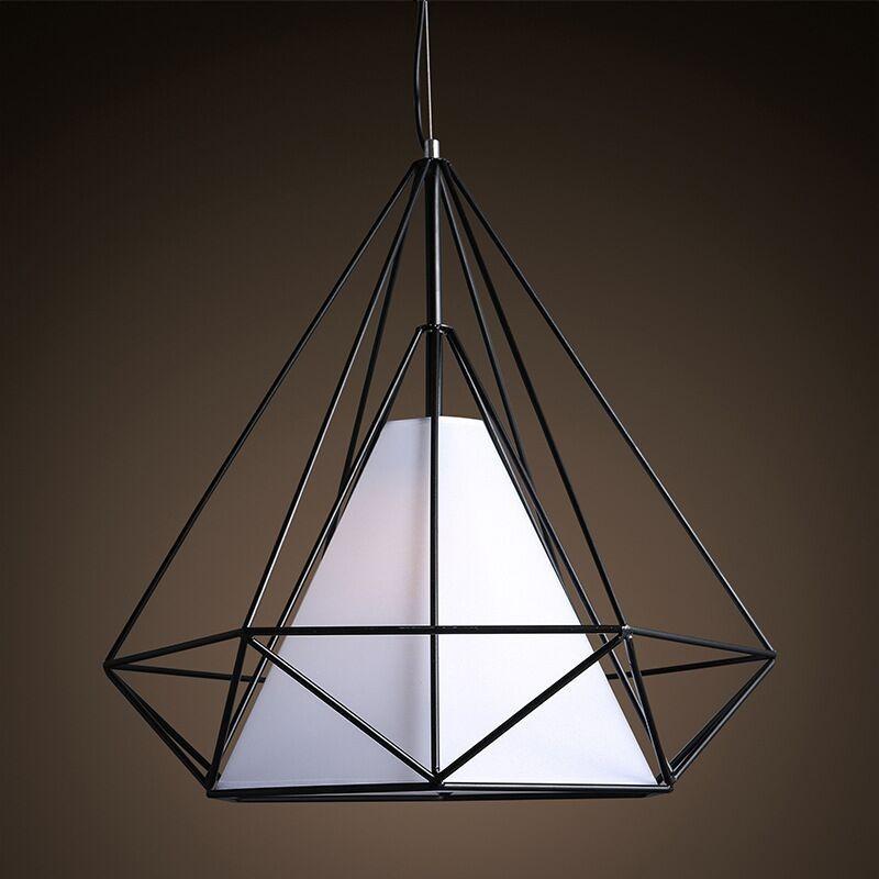 birdcage chandeliers Scandinavian modern minimalist art pyramid iron chandelier creative restaurant lights (10)