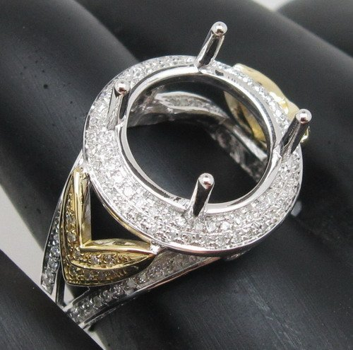 Top Ventas Retro 12x12mm Corte Redondo 14kt Multi Tono Oro Diamante Natural Del Montaje Semi Anillos de Ajuste
