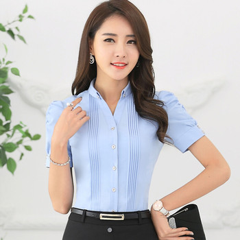 Fashion V-Neck short sleeve slim women shirt OL Formal Business puff sleeve chiffon blouse office ladies plus size wor wear tops 1