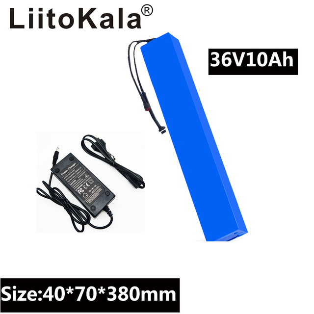 LiitoKala 36V 10Ah 42V 18650 Strip lithium ion battery pack with 20A BMS For ebike electric car bicycle motor scooter 600Watt