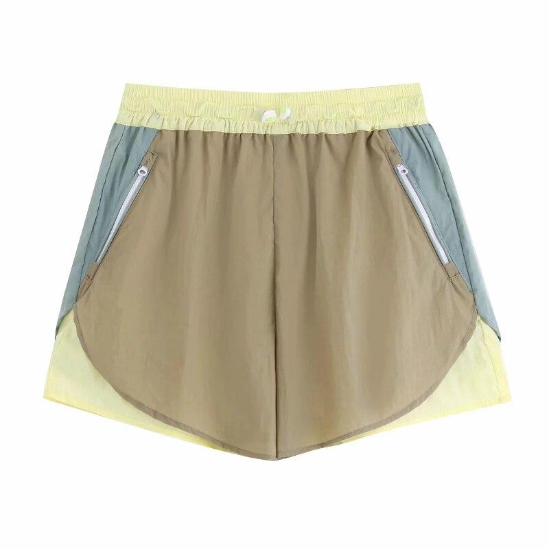 2019 Women Color Matching Patchwork Leisure Shorts Ladies Elastic Waist Zipper Pocket Casual Shorts Travel Pantalone Cortos P520