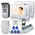 "FREE SHIPPING Home 7"" Color Video Door phone Intercom RFID Access Waterproof Camera + 2 White Screens + 180kg Magnetic E-Lock"