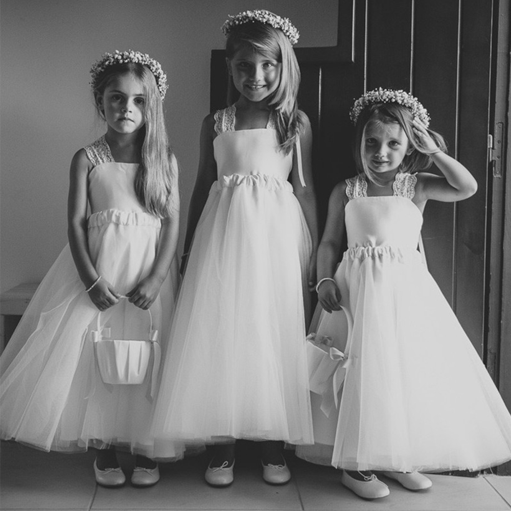 Bbonlinedress A-Line Square Criss-Cross Lace Straps Flower Girl Dresses 2019 White Tulle Dress with
