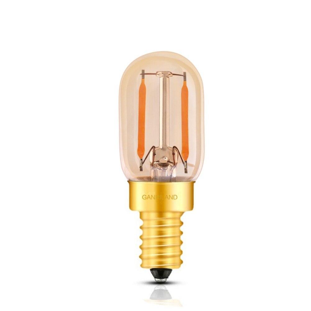 500pcs lot Ganriland Amber Glass T22 E14 Tubular Edison LED Filament Bulb 1W 2200K E14 220V