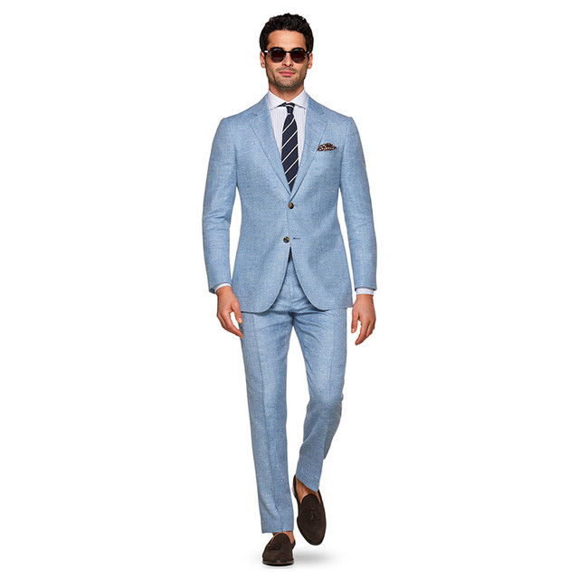 41b111c5ef Blue Linen Suit Sharp Look Tailored Groom Suit Men Custom Made Linen Blazer  Mens Linen Suits For Wedding Bespoke Tuxedos For Men