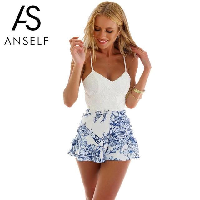 c585ac9553c5 2019 Sexy Womens Rompers Crochet Lace Floral Print Bodysuit Strap Zip Back  Jumpsuit Porcelain Short Playsuit