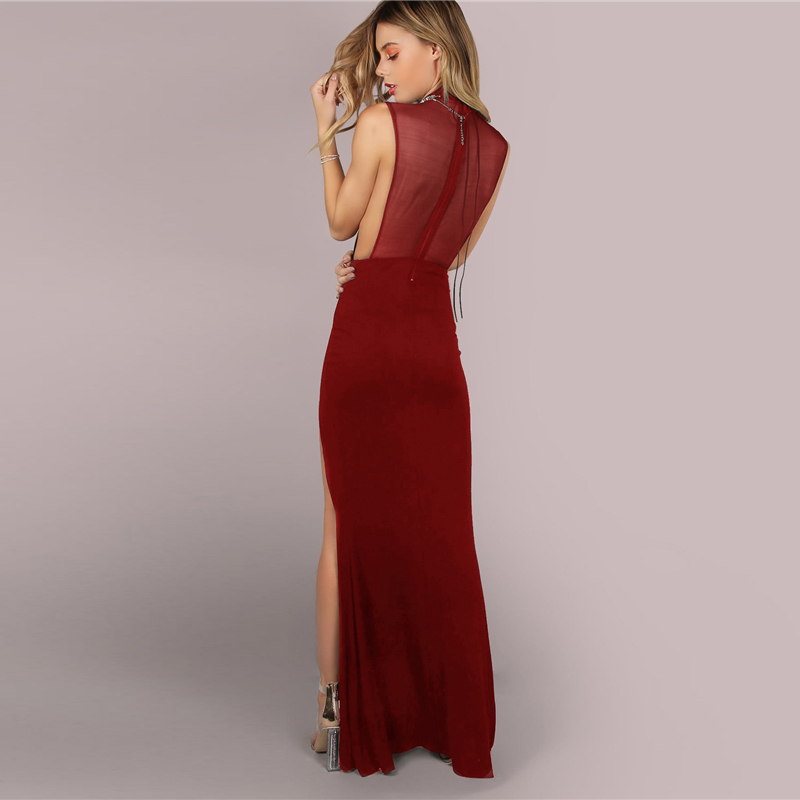 334d76169a SHEIN Burgundy Sexy Party Solid Mesh Back Double Slit Maxi ...