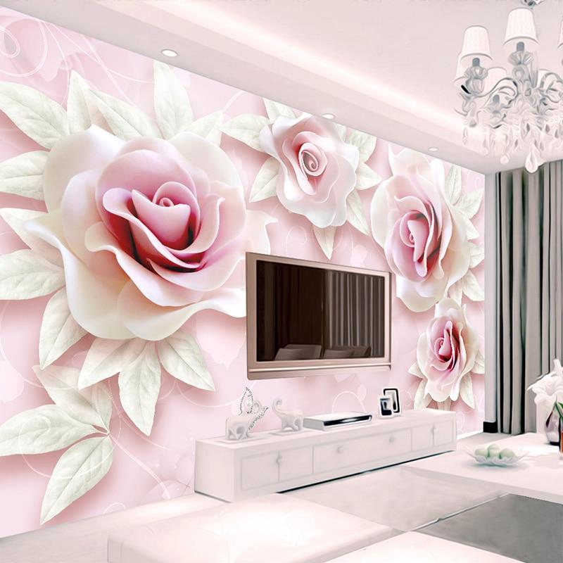 Custom Mural Wallpaper 3d Stereoscopic Relief Pearl: Custom Mural Wallpaper 3D Stereo Relief Pink Rose Photo