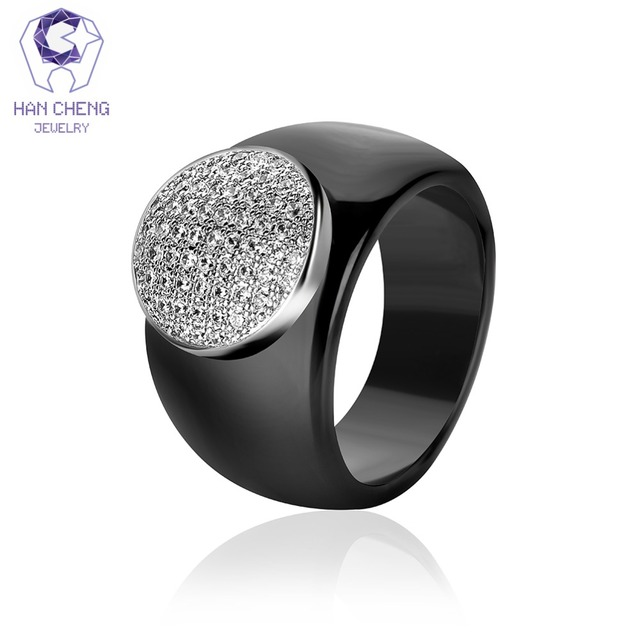 HanCheng New Fashion Luxury Big Round Gem Stone Silver Cubic Zirconia Ceramic Ri