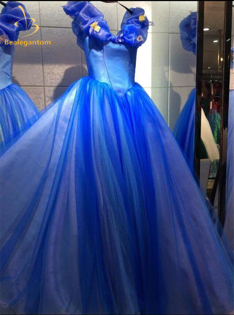 Bealegantom Blue Ball Gown Quinceanera Dresses 2018 Beaded Sweet 16 Dress Lace Up For 15 Years Vestidos De 15 Anos QA1226