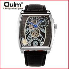 Oulm марка hotsale оптовая натуральная кожа наручные рука ветер механические часы, сделанные в гуанчжоу