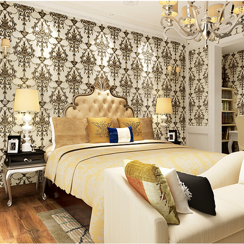 European Luxury 3D Wallpaper Thickened Flocking Non-woven Wallpaper Roll Living Room TV Wall Paper Roll Floral non woven bubble butterfly wallpaper design modern pastoral flock 3d circle wall paper for living room background walls 10m roll